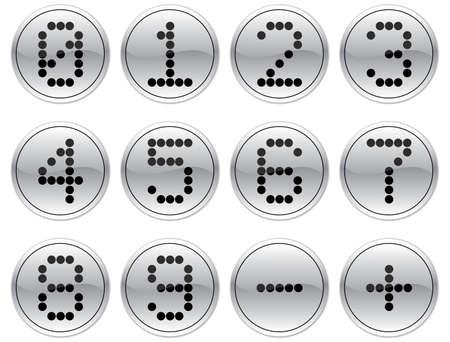 nulo: Matriz d�gitos iconos conjunto. Gris - negro paleta. Ilustraci�n vectorial.