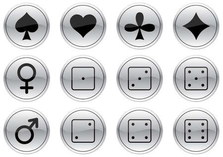Games icons set. Gray - black palette. Vector illustration. Vector
