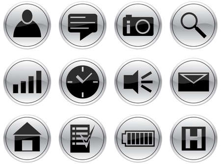 outbox: Gadget icons set. Gray - black palette. Vector illustration.