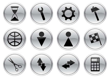 Gadget icons set. Gray - black palette. Vector illustration. Vector