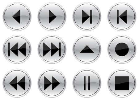 Multimedia navigation buttons set. Gray - black palette. Vector illustration. Stock Vector - 3529222