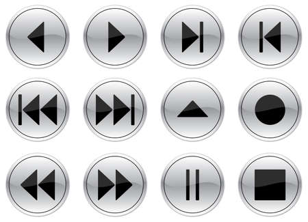 Multimedia navigation buttons set. Gray - black palette. Vector illustration. Stock Vector - 3529222