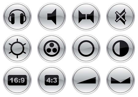 Gadget icons set. Gray - black palette. Vector illustration. Vector