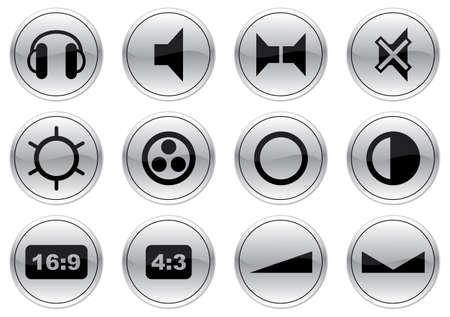 speakerphone: Gadget icons set. Gray - black palette. Vector illustration.