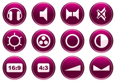 speakerphone: Gadget icons set. Purple - white palette. Vector illustration.