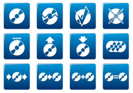 replica: Gadget square icons set. Blue - white palette. Vector illustration. Illustration