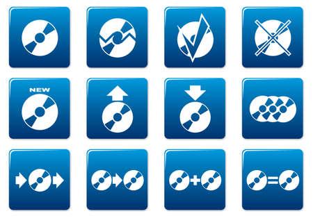 burn out: Gadget vierkante pictogrammen set. Blauw - wit palet. Vector illustratie.  Stock Illustratie