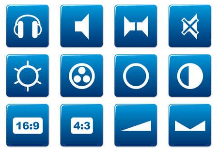 speakerphone: Gadget square icons set. Blue - white palette. Vector illustration. Illustration