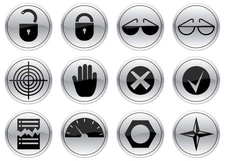 gadget: Gadget ensemble d'ic�nes. Gray - noir palette. Vector illustration. Illustration