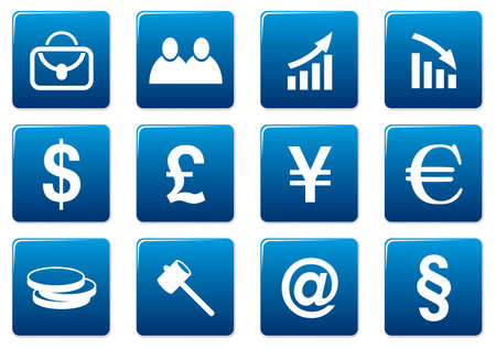 Gadget square icons set. Blue - white palette. Vector illustration. Vector