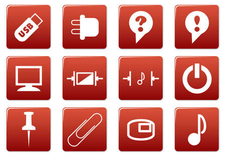 input device: Gadget square icons set. Red - white palette. Vector illustration.