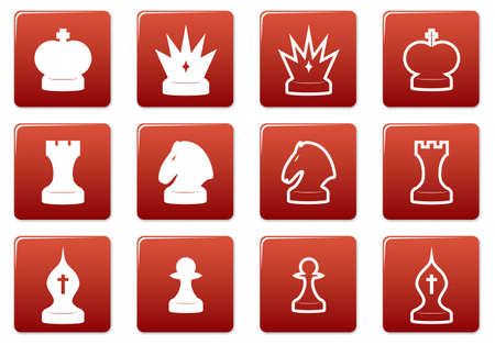 Chess square icons set. Red - white palette. Vector illustration. Stock Vector - 3626118