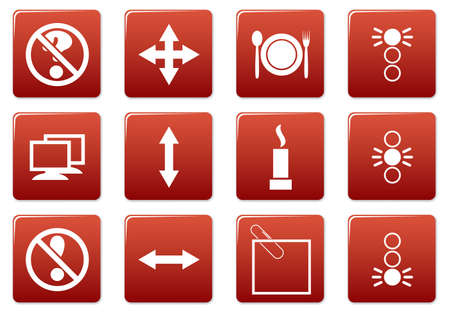 Gadget square icons set. Red - white palette. Vector illustration. Vector