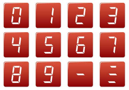 liquid crystal: Cuadrados de cristal l�quido de d�gitos iconos conjunto. Rojo - blanco paleta. Ilustraci�n vectorial. Vectores