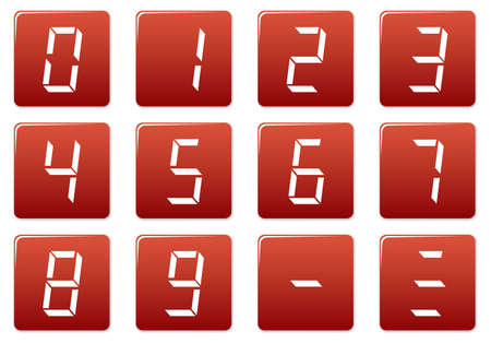 Liquid crystal digits square icons set. Red - white palette. Vector illustration. Vector