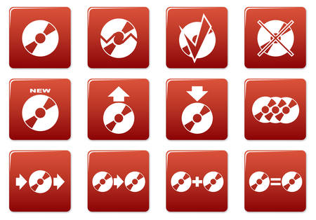 burn out: Gadget square icons set. Red - white palette. Vector illustration.