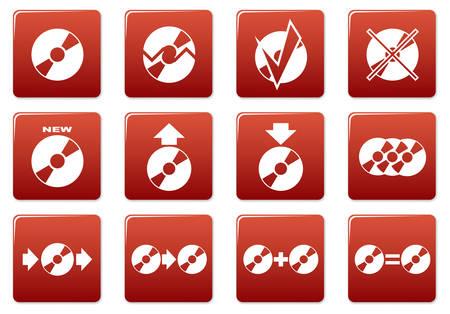 burn out: Gadget vierkante pictogrammen set. Rood - witte palet. Vector illustratie.