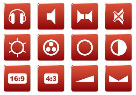 speakerphone: Gadget square icons set. Red - white palette. Vector illustration.