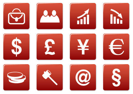 Gadget square icons set. Red - white palette. Vector illustration. Stock Vector - 3626110