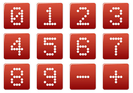 Digits square icons set. Red - white palette. Vector illustration. Vector