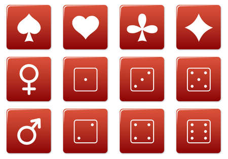 Games square icons set. Red - white palette. Vector illustration. Stock Vector - 3626120