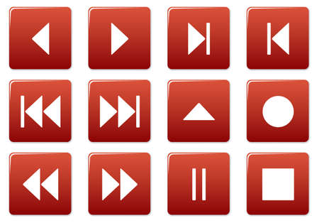 Media square icons set. Red - white palette. Vector illustration. Stock Vector - 3626106