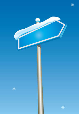 Blank blue pointer on winter sky background. Vector illustration. Vector