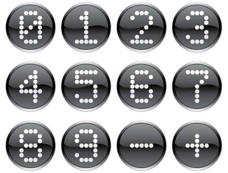 Matrix digits icons set. White - black palette. Vector illustration. Vector