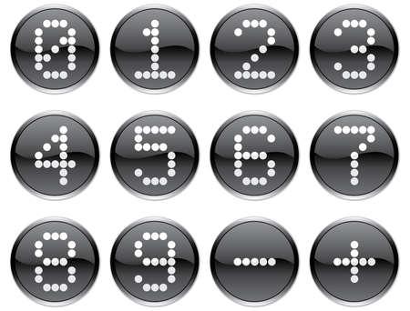 nulo: Matriz d�gitos iconos conjunto. Blanco - negro paleta. Ilustraci�n vectorial.