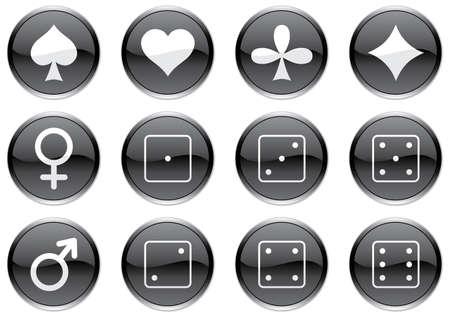 Games icons set. White - black palette. Vector illustration. Vector