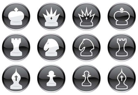 Chess icons set. Black-and-white palette. Vector illustration. Stock Vector - 3734566