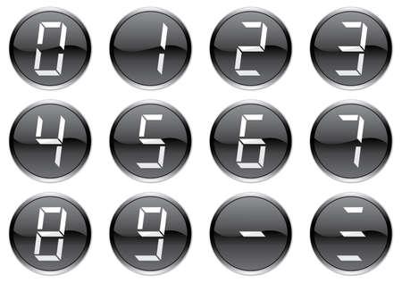 Liquid crystal digits icons set. White - black palette. Vector illustration. Vector