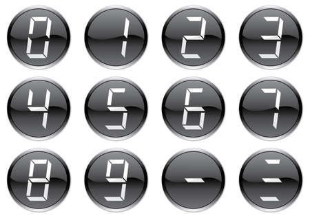 null: Liquid crystal digits icons set. White - black palette. Vector illustration.