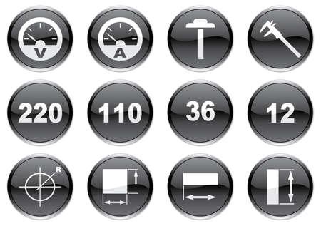 ampere: Gadget icons set. White - black palette. Vector illustration. Illustration