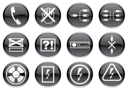 Gadget icons set. White - black palette. Vector illustration. Stock Vector - 3734570