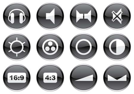 16 9 display: Gadget icons set. White - black palette. Vector illustration. Illustration