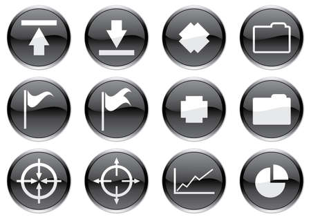 Gadget icons set. White - black palette. Vector illustration. Stock Vector - 3734558