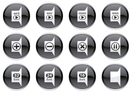 wav: Gadget icons set. White - black palette. Vector illustration. Illustration