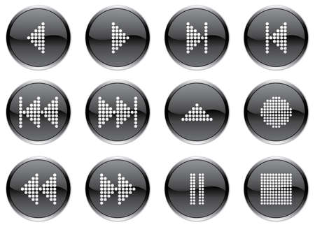 Multimedia navigation buttons set. White - black palette. Vector illustration. Stock Vector - 3743467