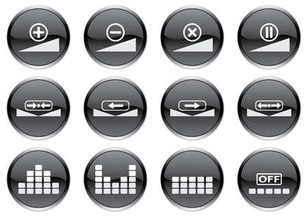 off balance: Gadget icons set. White - black palette. Vector illustration. Illustration
