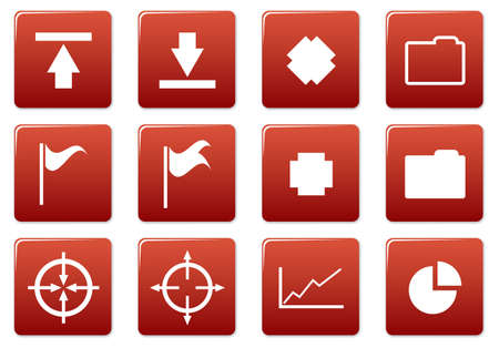 Gadget square icons set. Red - white palette. Vector illustration. Stock Vector - 3757300