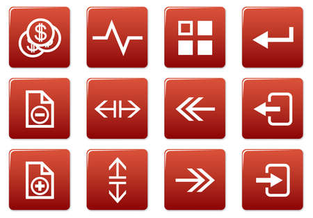 Gadget square icons set. Red - white palette. Vector illustration. Stock Vector - 3757292