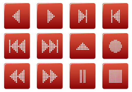 Multimedia navigation buttons set. Red - white palette. Vector illustration. Vector