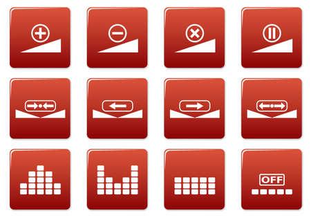 gadget: Gadget mis en place des ic�nes. Rouge - blanc palette. Vector illustration.