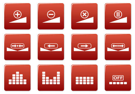 preset: Gadget square icons set. Red - white palette. Vector illustration.
