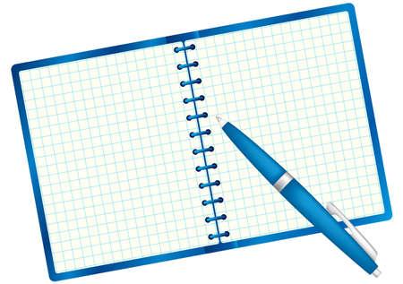pad pen: Bloc de notas de texto de ejemplo y pluma. Paleta de color azul. Ilustraci�n vectorial. Aislado sobre fondo blanco.