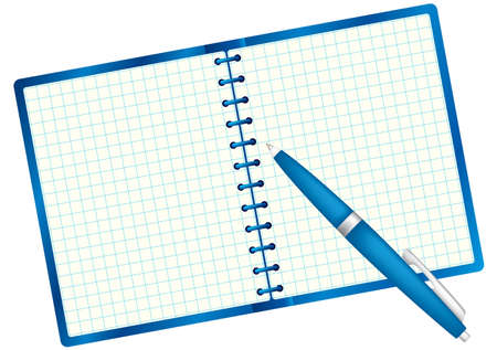 Notepad for sample text and pen. Blue palette. Vector illustration. Isolated on white background.