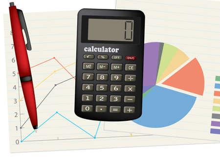 Calculator and pen. Business theme. Vector illustration. Illustration