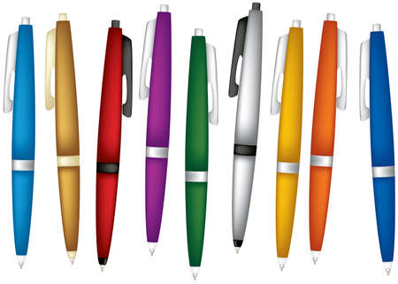 Color pens. Set. Vector illustration. Isolated on white background. Illustration