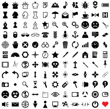121 vector pictograms. Black-and-white contour. Set 1. Stock Vector - 3757231